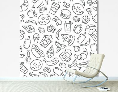 Seamless pattern with food and drinks. Black and white thin line icons