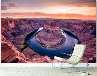 Sunset at Horseshoe Bend Canyon - Grand Canyon with Colorado River - Located at Page, Arizona - USA