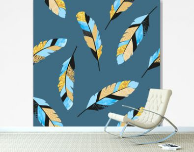 Seamless vector pattern with blue and golden decorative feathers.