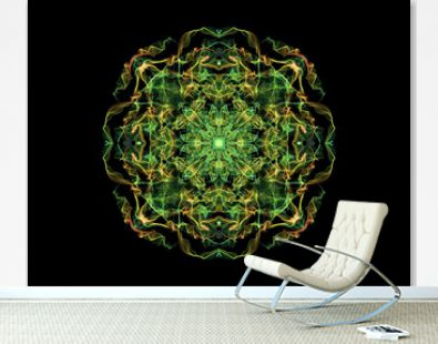 Green and yellow abstract flame mandala flower, ornamental round pattern on black background. Yoga theme.