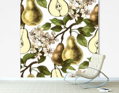 Seamless pattern with hand drawn pear branches