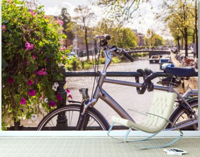 nice picture of a bicycle on an amsterdam bridge