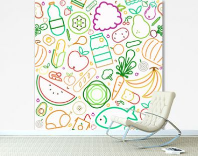 Healthy food seamless pattern of outline icons