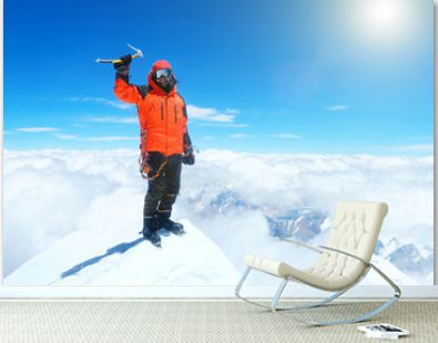 Climber reaches the summit of Everest. Mountain peak Everest. Highest mountain in the world. National Park, Nepal .