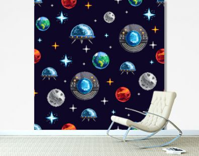 Pixel design of seamless background with colorful planets and spacecraft