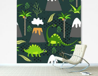 Cute kids dinosaurs pattern for girls and boys. Colorful dinosaurs on the abstract grunge background.. The dinosaurs pattern is made in neon colors. Urban pattern. backdrop for textile and fabric.