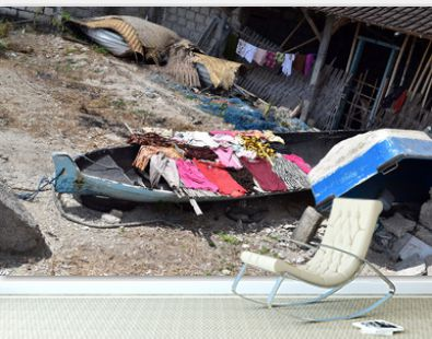 Laundry left to dry on the fishing boat in Nusa Penida ısland, Indonesia