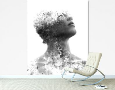 Paintography. Double exposure portrait of an attractive model combined with hand drawn ink painting with depth and texture