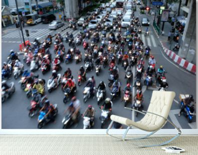Traffic jam Bangkok. Motorcycle taxi drivers push to the front of a line.