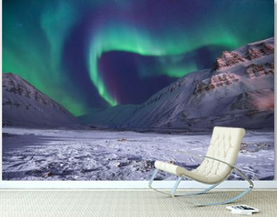 The polar arctic Northern lights aurora borealis sky star in Norway travel Svalbard in Longyearbyen city the moon mountains