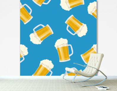 Seamless pattern mug of beer. Bar card. Alcohol party background. Pint beer. Beer poster. Vector illustration in flat style