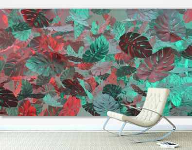 Tropical leaves Monstera in vibrant bold gradient holographic colors. Template layout, trend fashion concept art . Flat lay, 3d.