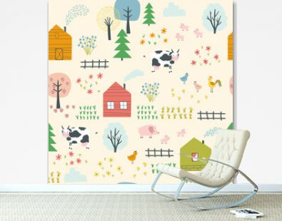 Seamless landscape pattern with village