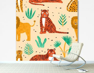 Trendy seamless pattern with hand drawn lions, tigers, leopards and leaves of tropical plants on light background. Backdrop with cute wild exotic predators. Colorful vector illustration in flat style.