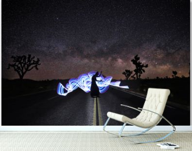 Light Painted Girl Under the Milky Way