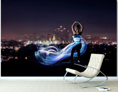 Colorful Long Exposure Image of a Woman