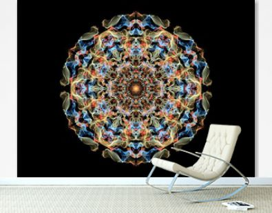 Yellow, blue and red abstract flame mandala flower, ornamental floral round pattern on black background. Yoga theme.