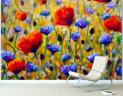 painting flower modern colorful wild flowers canvas abstract close paint impasto oil - Impressionism modern oil paintings fragment