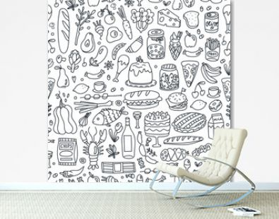 Various hand drawn food. Doodle vector seamless pattern