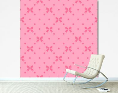 Vector seamless pattern with beautiful bows on pink background