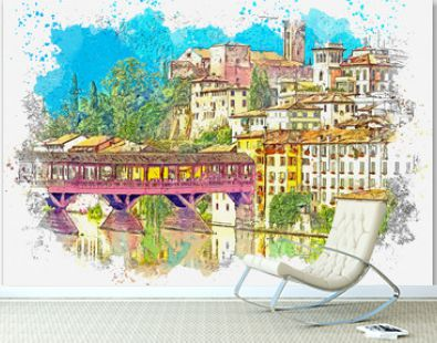 Watercolor sketch or illustration of a beautiful view of the urban architecture and the Alpini Bridge in Bassano del Grappa in Italy