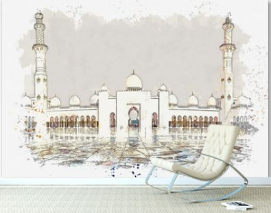 Watercolor sketch or illustration of a beautiful view of the Sheikh Zayed Mosque in Abu Dhabi, United Arab Emirates. Religious building