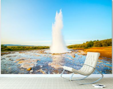 A landscape with Geysir, one of the biggest attraction of Iceland