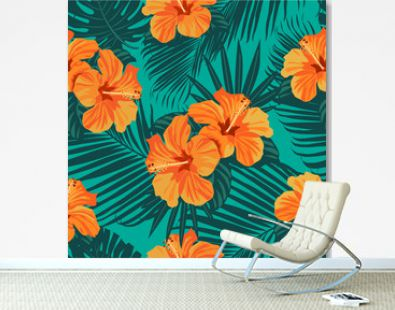 Tropical flowers and palm leaves on background. Seamless. Vector pattern.