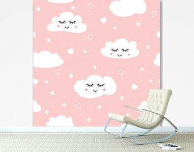 Sweet pink seamless pattern White sleeping clouds background collection Baby girl ornament template vector