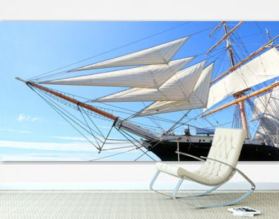 Panoramic Photo of Sails from a tall Ship in Dock. San Diego, USA.  Sunny day.