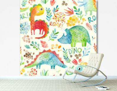 Hand drawn seamless pattern with dinosaurs and floral elements. Cute watercolor illustration design. Perfect for kids fabric, textile, nursery wallpaper.