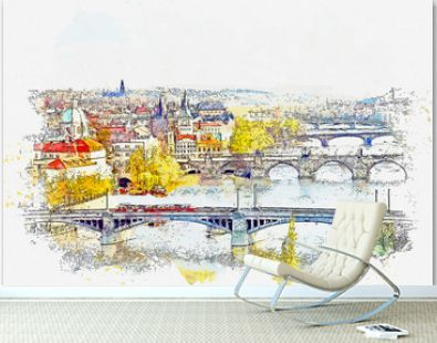 Watercolor sketch or illustration of a beautiful view of the traditional architecture in Prague in the Czech Republic. Cityscape or urban skyline