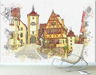 A watercolor sketch or illustration of a beautiful street in Rothenburg ob der Tauber in Germany with beautiful houses in German style