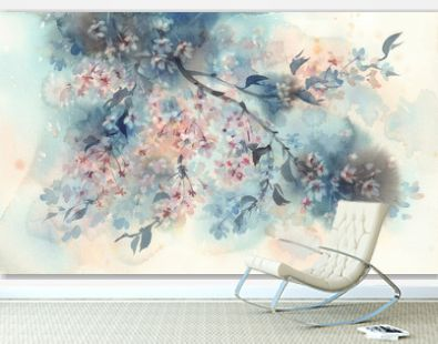 White sakura flower blossom on a dark background watercolor.