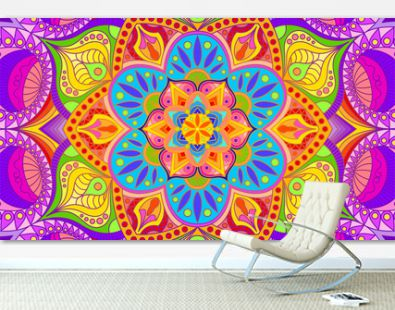 Background with a symmetrical colorful pattern, Indian pattern, oriental pattern