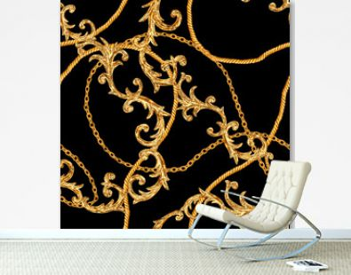 Golden chain glamour baroque style seamless pattern background.