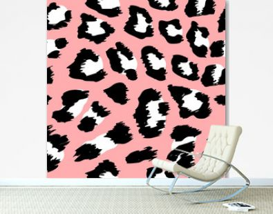 Leopard pattern design - funny drawing seamless pattern. Lettering poster or t-shirt textile graphic design. / wallpaper, wrapping paper.