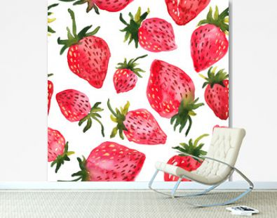 Red watercolor strawberries. Seamless hand painted pattern