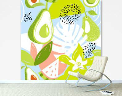 Contemporary seamless pattern with avocado fruits, watermelon, leaves and abstract elements. Creative floral collage. Vector texture for textile, wrapping paper, packaging etc. Vector illustration.