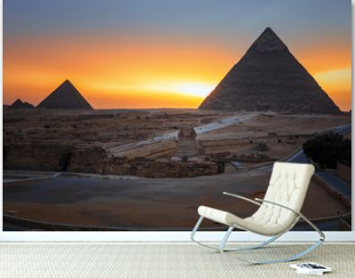 The Pyramids and the Sphinx in twilight, evening view of Giza complex, Egypt
