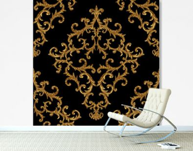 Baroque golden elements ornamental seamless pattern. Watercolor hand drawn gold element texture on black background.