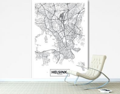 City map Helsinki, travel vector poster design
