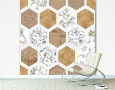 Hexagon seamless pattern with digital marble paper, shiny gold foil, silver glitter texture