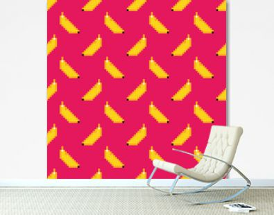 Hot pink seamless pattern background with pixel bananas for summer and tropical design.