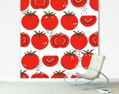 Fresh tomatoes, hand drawn seamless pattern. Overlapping background, vegetables vector. Colorful illustration with food. Decorative wallpaper, good for printing. Design backdrop, tomato