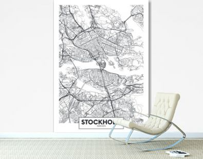 City map Stockholm, travel vector poster design