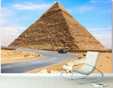 The Pyramid of Chephren and a car road nearby, Giza, Egypt