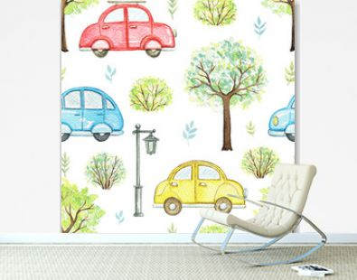 Seamless pattern with cute cartoon multicolored cars, flowers, trees, bushes and streetlight isolated on white background. Watercolor hand painted illustration