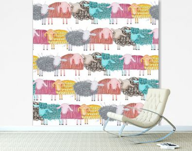lambs pattern and wallpaper rainbow watercolor