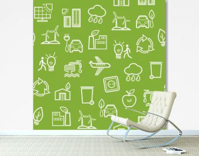 Eco-friendly technology, seamless pattern, green, contour pattern, monochrome, vector. Clean energy, fuel and food production. Seamless monochrome background. Future technology.